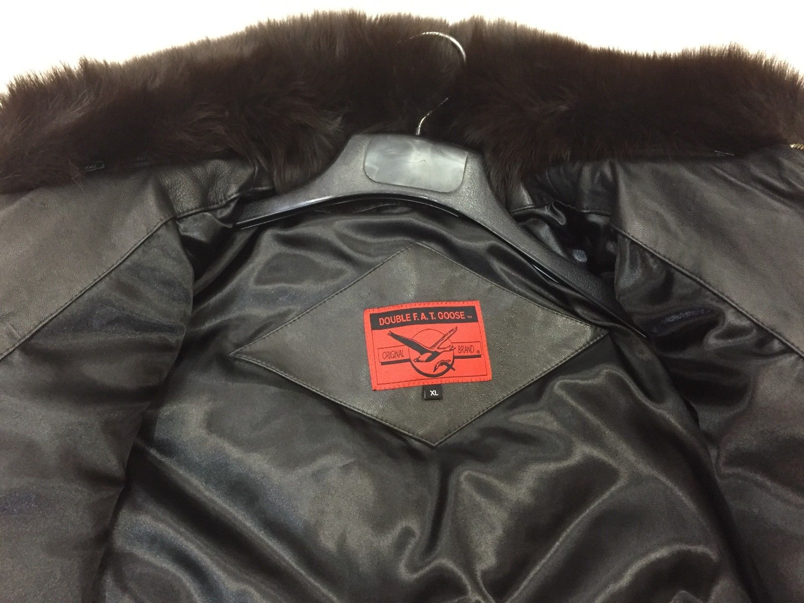 V-BOMBER JACKET-80'S BLACK FOX COLLAR | Leather Accessories Inc