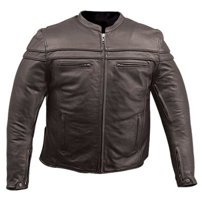 Vintage Waxed Brown Natural Pebbled Cowhide Café leather Jacket