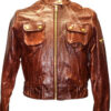 Zipper on Arm Brown Women Leather Jacket