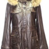 REMOVABLE HOOD FRONT BUTTON AND HIDDING ZIPPER CLOSURE LEATHER COAT FOR WOMEN