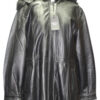 REMOVABLE HOOD ZIPPER CLOSURE LEATHER COAT FOR WOMEN
