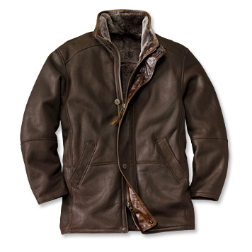 Shearling leather coat for men