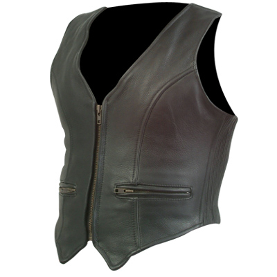 Men Leather Motorcycle Basic Vest