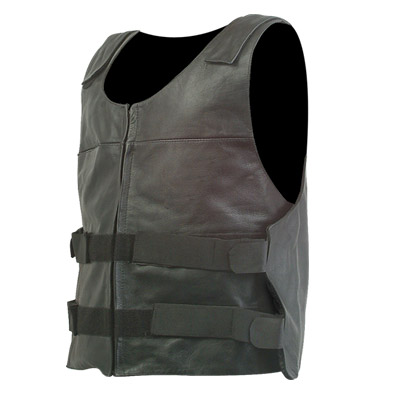 Men Leather Motorcycle Biker Vest Bullet Proof Style