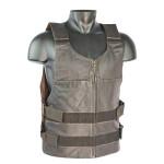 IK Women Leather Motorcycle Biker Vest Bullet Proof Style