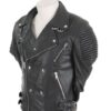 Men plane black biker rib jacket