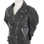 Men plane black biker rib jacket