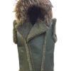 MEN'S: SHEEPSKIN VEST, SHEARLING, COLOR OLIVE GREEN, FOX HOOD