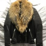 women: Moto Leather Jacket with Real Raccoon Fur