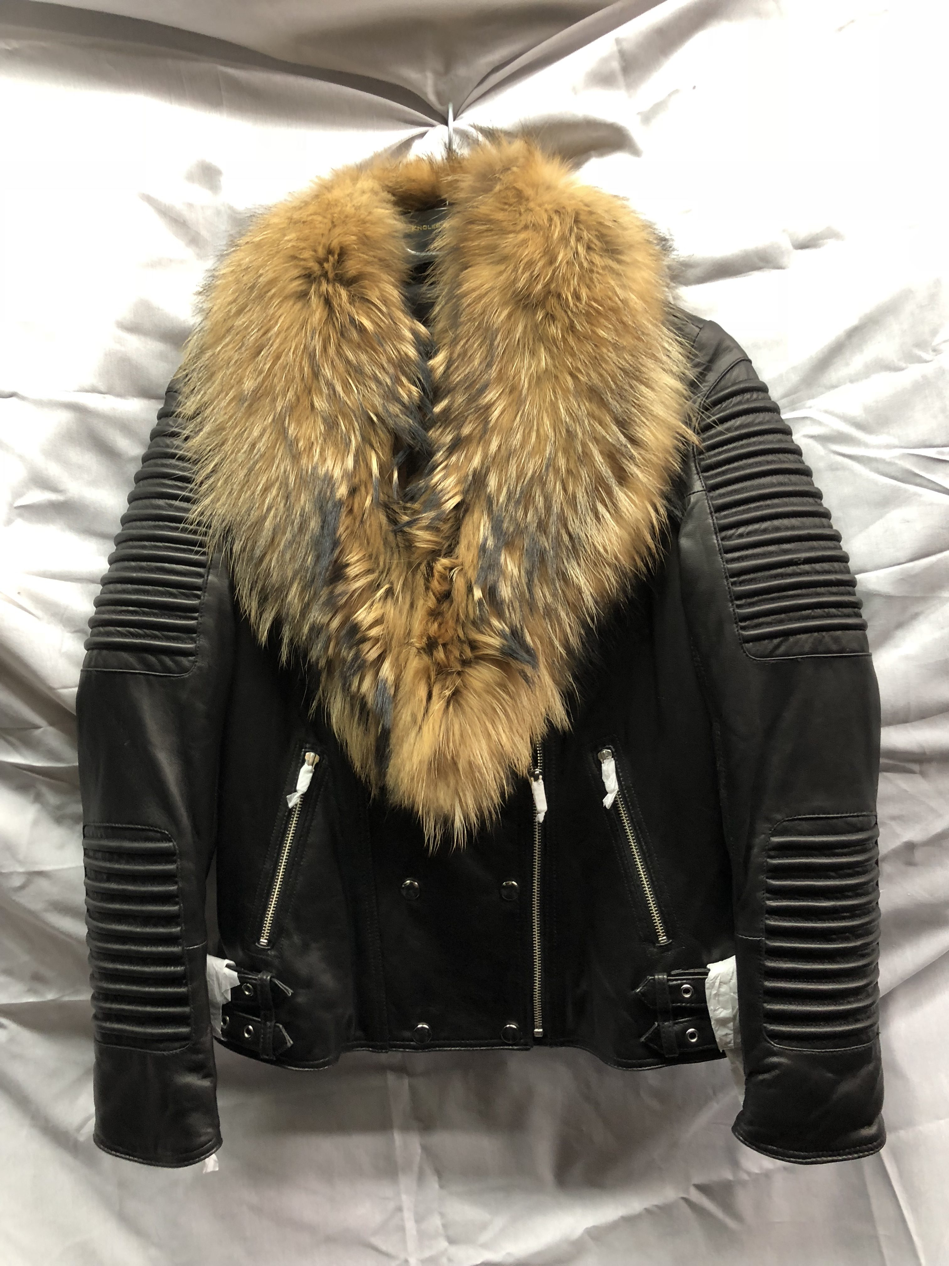 women  Moto Leather Jacket with Real Raccoon Fur  98d7265bf