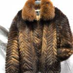 Men's Mink Fur Bomber Jacket with Fox Fur Collar