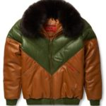 Goose Country V-Bomber Two-Tone: Brown/Green Leather