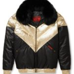 Goose Country V-Bomber Two-Tone: Black/Gold Leather