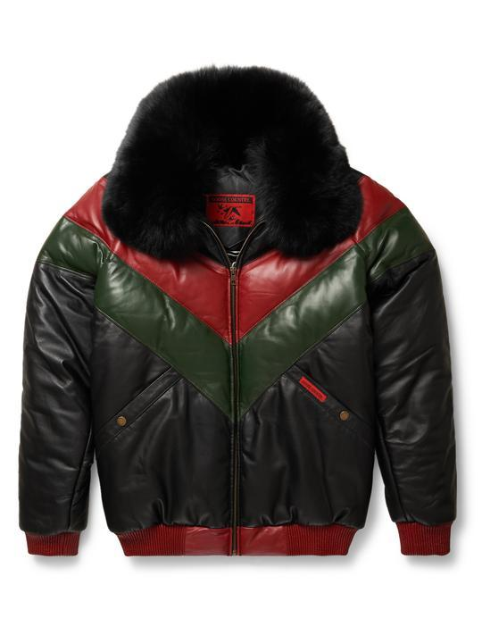 a540de20d Goose Country V-Bomber Two-Tone: Red/Green/Black Leather | Leather ...