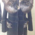 Shearling Sheepskin Coat With Red Fox Fur