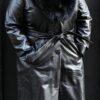 Women Black Lambskin Coat With Fox Fur Collar