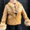 Women Tan Lambskin Coat With Fox Fur Collar