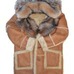 Tan Sheepskin with Full Crystal fox Fur Hooded And Collar