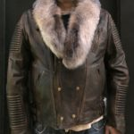 WAXED BIKER RIB WITH CRYSTAL FOX FUR