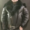 Black Sheepskin Biker with Fox Fur Collar