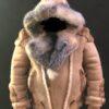 Tonka Sheepskin Biker with Crystal Fox Fur with Hooded
