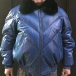 V BOMBER, BLUE WITH FOX COLLAR