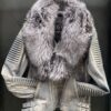 MEN WAX GRAY- BIKER RIBBLES WITH GRAY FOX FUR