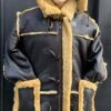 MEN SHEARLING-7/8 BROWN WITH GOLD WITH HOOD