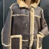 MEN SHEARLING-7/8 BROWN WITH BROWN WITH HOOD